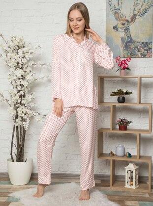 Ecru - Crew neck -  - Viscose - Pyjama Set