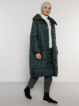 Green - Emerald - Fully Lined - Point Collar - Coat