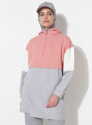 Ecru - Gray - Powder -  - Tracksuit Top - Saye Modest