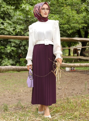 Plum - Unlined - Skirt - Tofisa