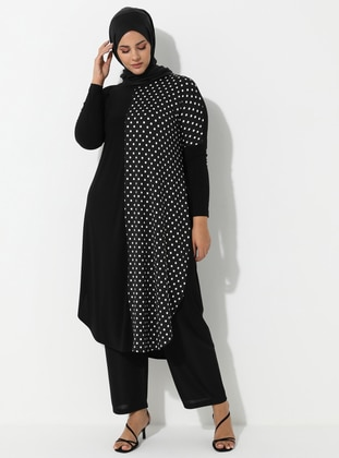 Black - Polka Dot - Crew neck - Plus Size Tunic