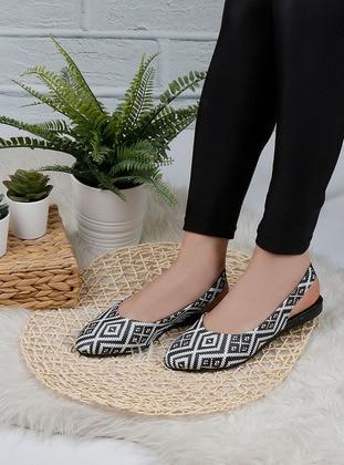 White - Black - Sandal - Sandal - Renkli Butik