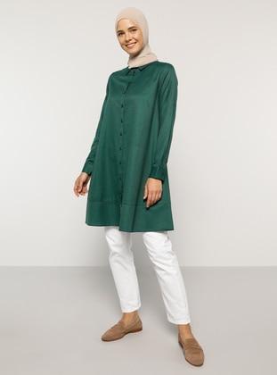 Green - Point Collar -  - Tunic