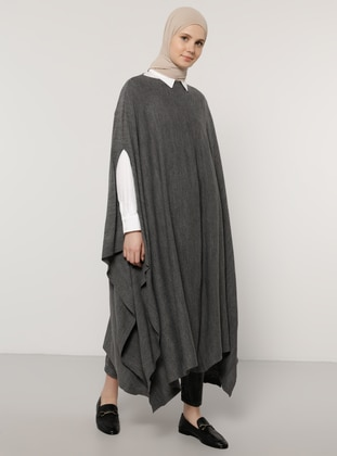 Anthracite - Crew neck - Unlined - Acrylic -  - Poncho