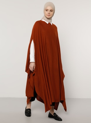 Cinnamon - Crew neck - Unlined - Acrylic -  - Poncho