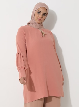 Pink - Crew neck -  - Plus Size Tunic