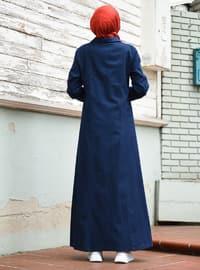 Navy Blue - Round Collar - Denim - - Abaya