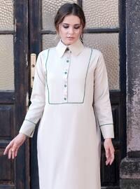 Bej - Fransız yakası - Astarsız kumaş - - Elbise