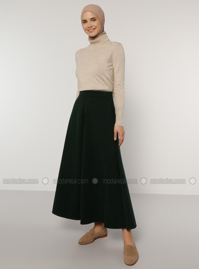 Green - Unlined - Denim -  - Skirt