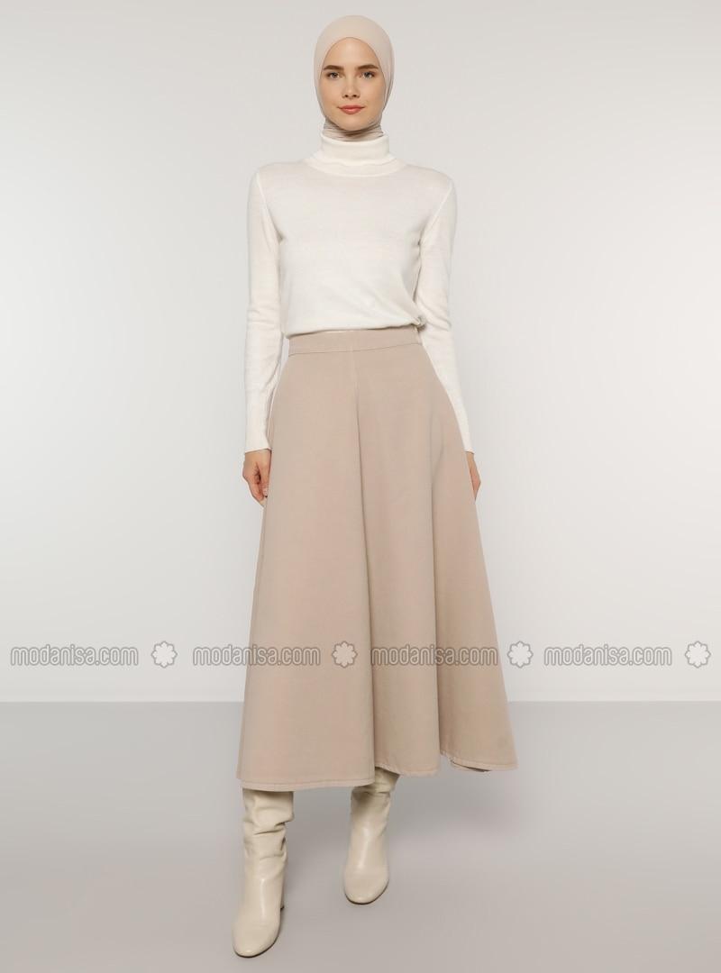 Beige - Unlined - Denim -  - Skirt