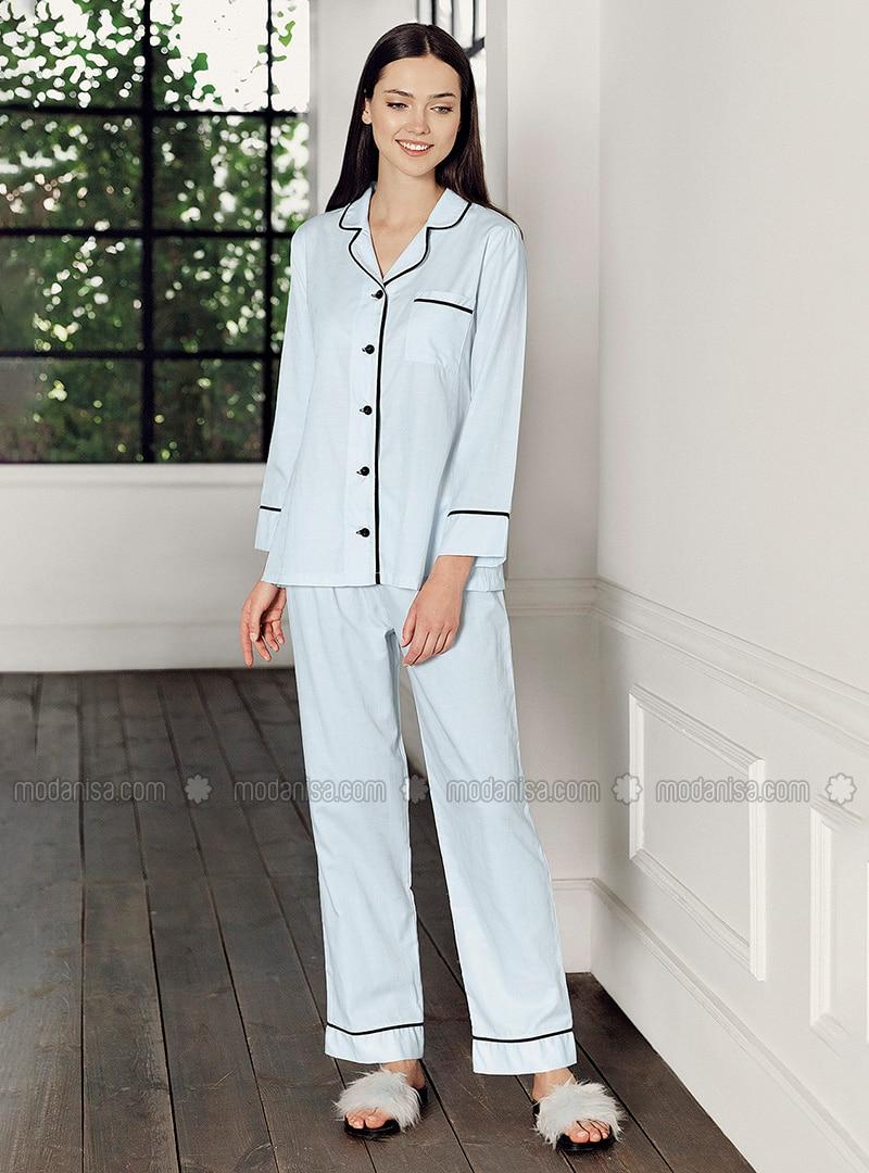 Blue - Crew neck - - Pyjama Set