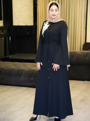 Black - Evening Abaya - Gold Dresses