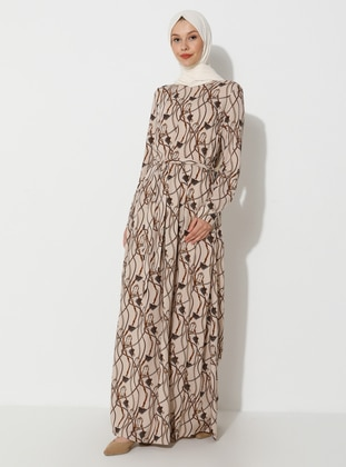 Beige - Cream - Multi - Crew neck - Unlined - Viscose - Dress
