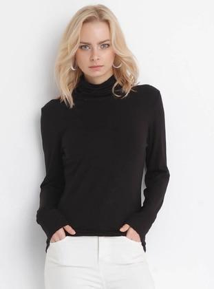 Black - Multi - Point Collar - Viscose - Blouses