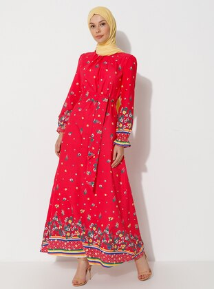 Coral - Floral - Crew neck - Unlined -  - Dress