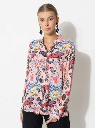 Pink - Floral - Point Collar - Blouses