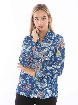 Saxe - Floral - Point Collar - Blouses
