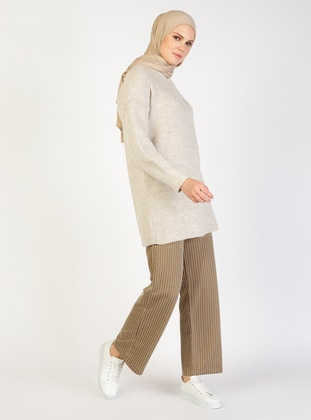 Brown - Stripe - Viscose - Pants