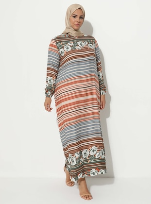 Khaki - Multi - Crew neck - Unlined - Dress