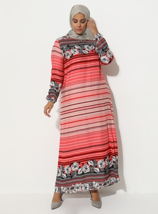Coral - Multi - Crew neck - Unlined - Dress