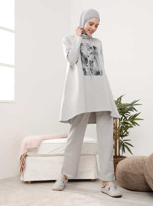 Gray - Printed - Tracksuit Set