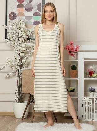 Cream - Stripe - Crew neck - - Nightdress