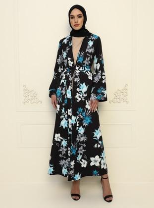 Multi - Blue - Floral - Crew neck - Evening Suit