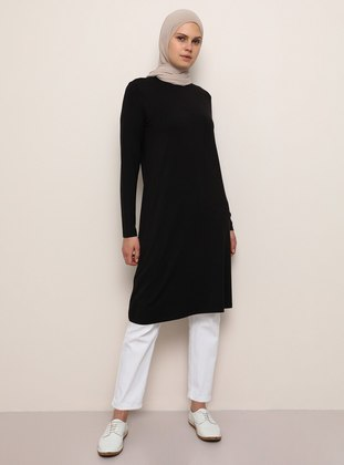 Black - Crew neck - Viscose - Tunic