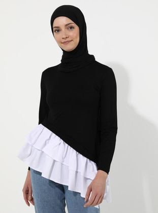 White - Ecru - Black - Crew neck -  - Viscose - Blouses