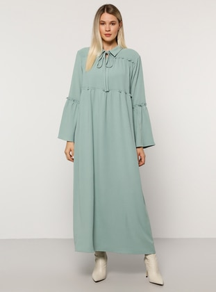 Sea-green - Unlined - Point Collar - Plus Size Dress
