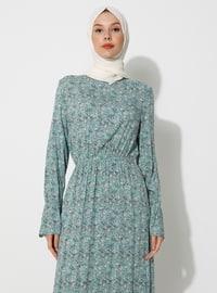 Green - Floral - Crew neck - Unlined - Viscose - Dress