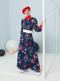 Navy Blue - Floral - Stripe - Crew neck - Point Collar - Unlined - - Viscose - Dress