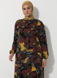 Mustard - Black - Multi - Crew neck - Unlined - Dress