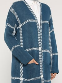 White - Ecru - Blue - Stripe - Acrylic -  - Cardigan
