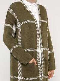 Green - Emerald - Stripe - Acrylic -  - Cardigan