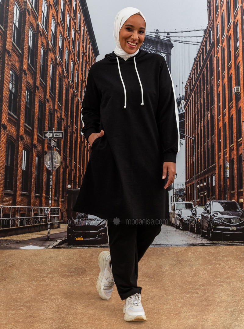 Oversize Natural Fabric Sports Tunic&Trousers Sports Set - Black Ecru