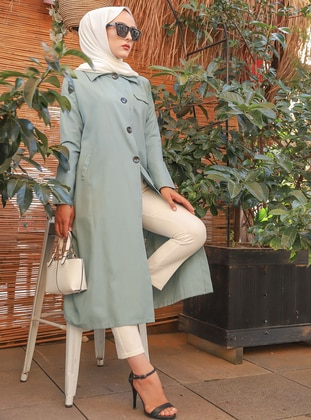 Mint - Unlined - Point Collar - - Trench Coat