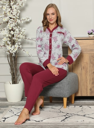Purple - V neck Collar -  - Pyjama Set - Fawn