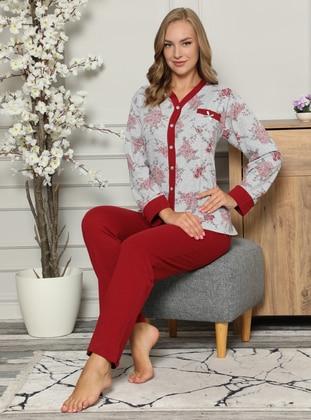 Maroon - V neck Collar -  - Pyjama Set - Fawn