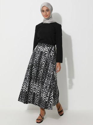 Gray - Black - Multi - Unlined - Skirt