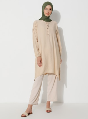 Beige - Button Collar - Tunic