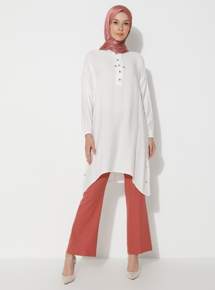 White - Button Collar - Tunic