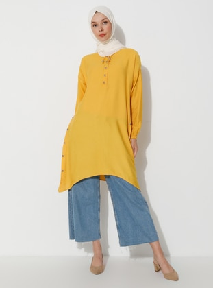 Yellow - Button Collar - Tunic