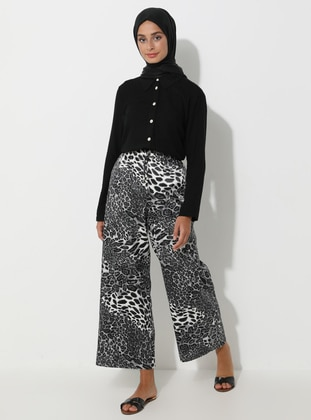 Gray - Black - Leopard - Pants