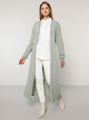 Sea-green - Acrylic -  - Plus Size Cardigan