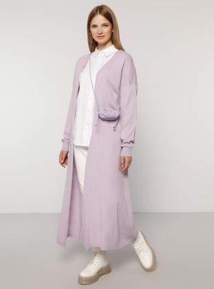 Lilac - Acrylic -  - Plus Size Cardigan