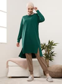 Green - Crew neck - Cotton - Tunic