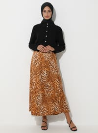 Beige - Black - Leopard - Unlined - Skirt