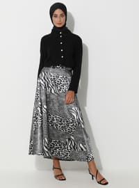 Gray - Black - Leopard - Unlined - Skirt