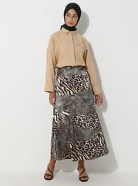 Brown - Black - Leopard - Unlined - Skirt